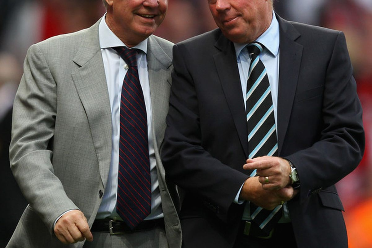 """Sir Alex: """"So, before you take the England job, let's talk Luka. I'm getting a cut-rate deal, right?""""  'Arry: """"Remember, the account name is 'Rosie 47' and it's in Monaco. If you have trouble, don't ask me to work a computer or anything though."""""""