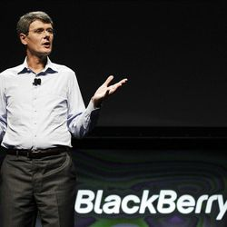 Thorsten Heins, President and CEO of Research in Motion, speaks about the new BlackBerry 10 at a conference in San Jose, Calif., Tuesday.