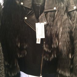 Leather and fox fur jacket, size M, $700 (was $3,975)