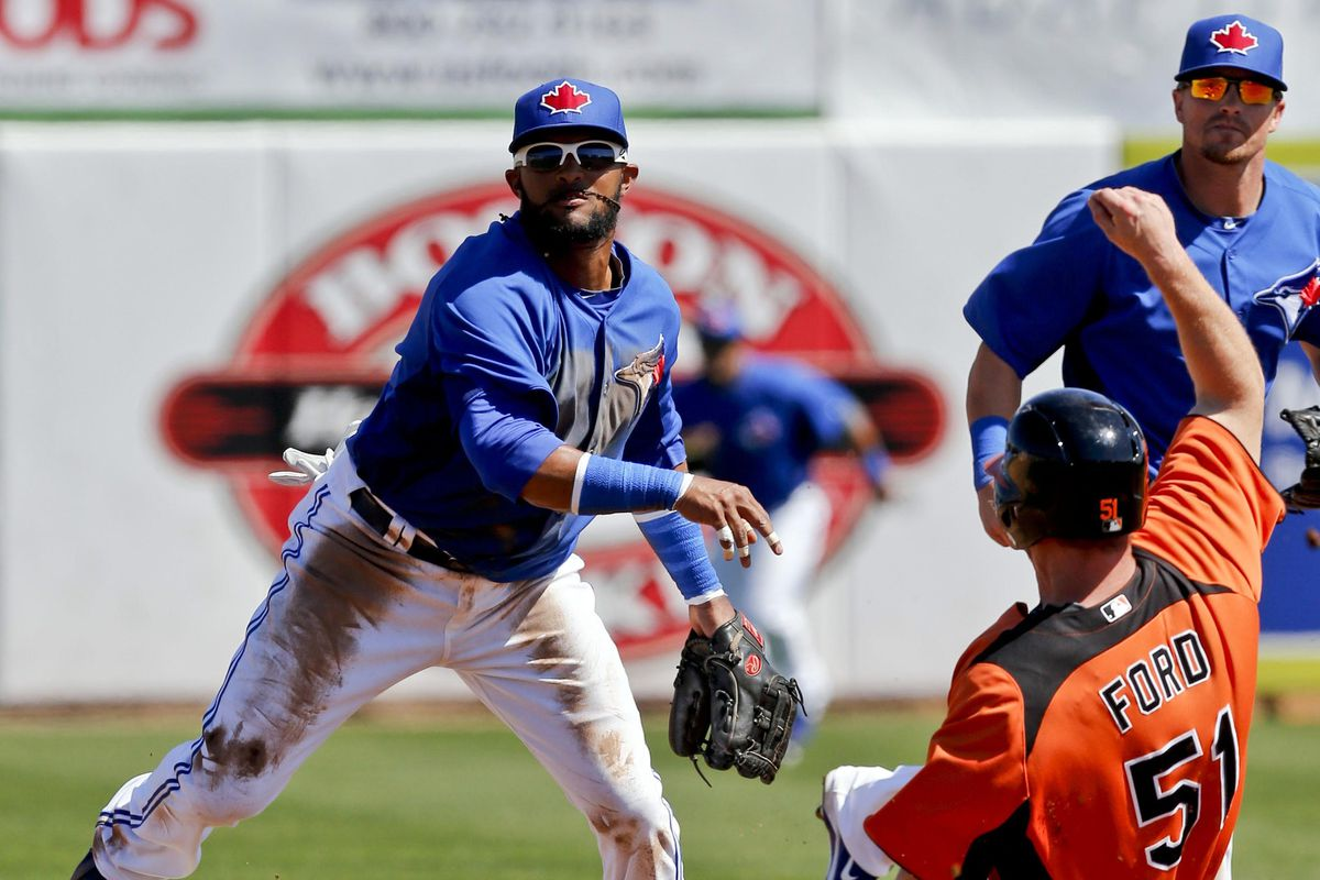 Here is Emilio Bonifacio turning a double play, from yesterday.