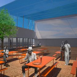 Rendering of the future outdoor seating area at Pizzeria Delfina in the Proxy