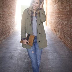 """Emily of <a href=""""http://cupcakesandcashmere.com""""target=""""_blank"""">Cupcakes and Cashmere</a> is wearing a Gap <a href=""""http://www.gap.com/browse/product.do?vid=1&pid=988951002&tid=goaff4441350&ap=2&siteID=goafcid150""""target=""""_blank"""">jacket</a> and jeans, a J"""