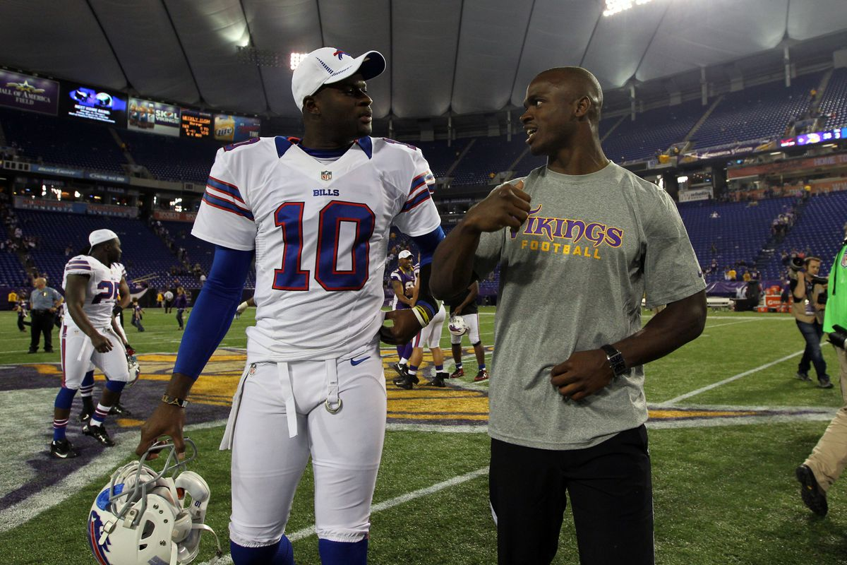 This is as close as Adrian Peterson is going to get to being on a football field until the games actually mean something. (Mandatory Credit: Brace Hemmelgarn-US PRESSWIRE)