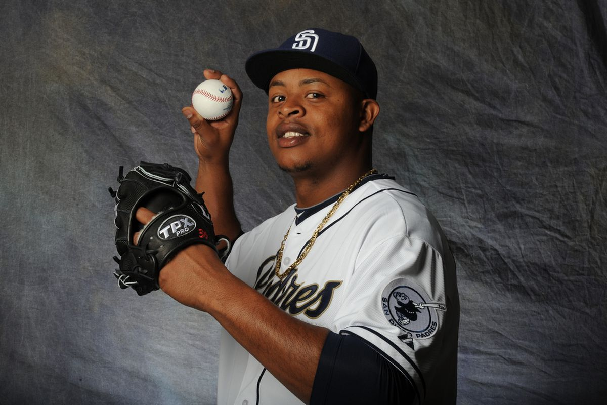 Edinson Volquez showing off his 4 seam grip and a pair of wild eyes.
