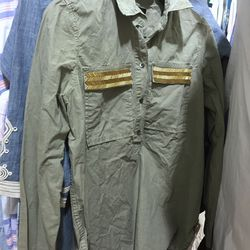 Button-down with beaded pockets, $25