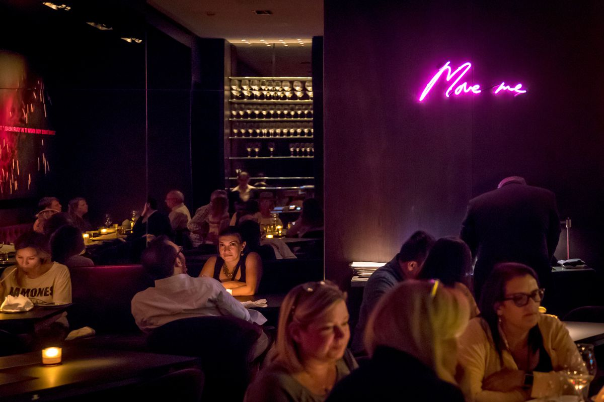 A Tracey Emin neon sign inside Cut by Wolfgang Puck in Downtown Manhattan