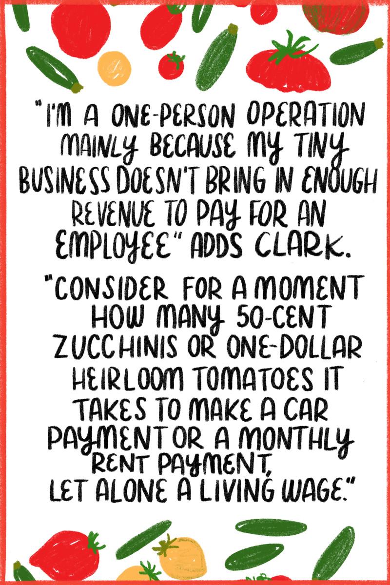 """Clark cho biết thêm: """"Tôi là hoạt động của một người chủ yếu vì doanh nghiệp của tôi không mang lại đủ doanh thu để trả cho một nhân viên.  """"Hãy xem xét một chút xem cần bao nhiêu quả bí xanh hoặc cà chua gia truyền trị giá một đô la để trả tiền mua xe hoặc trả tiền thuê nhà hàng tháng, chứ chưa nói đến mức lương đủ sống."""" [Surrounding the quote are illustrations of zucchini and tomatoes.]"""