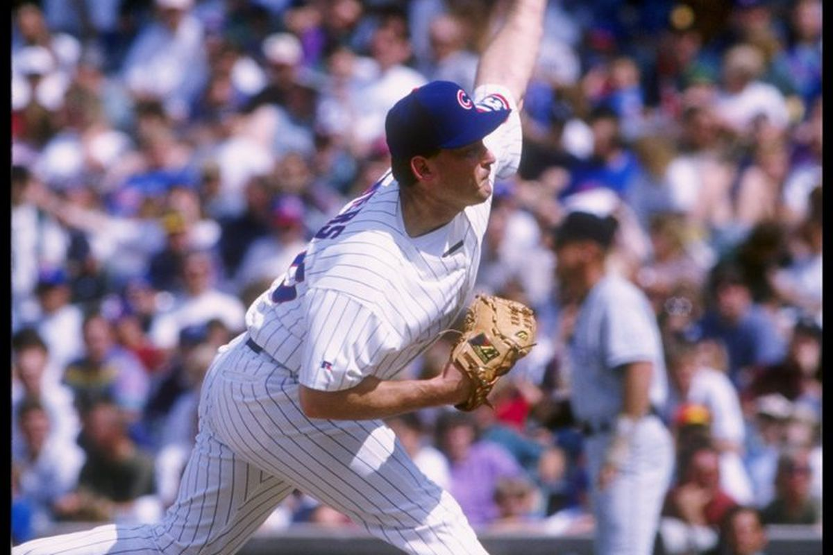 Pitcher Randy Myers of the Chicago Cubs throws a pitch during a game against the Colorado Rockies at Wrigley Field in Chicago, Illinois. (Jonathan Daniel/Getty Images)