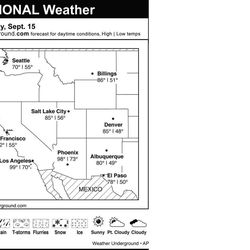 This is the Weather Underground forecast for Saturday, September 15, 2012 for the western region of the U.S.