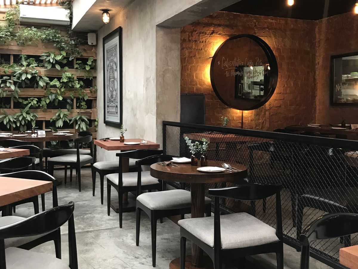 The dining room of Matria with round two-top tables and minimalist chairs, a back-lit round mirror against one wall in a darkened alcove, light streaming in from tinted skylights in another main area that also features a plant wall with rows of vines emer