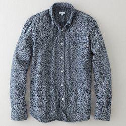 "<strong>Steven Alan</strong> Classic Collegiate Shirt in Indigo Discharge Floral, <a href=""http://www.stevenalan.com/848785092571.html#cgid=mens-clothing-shirting&start=0&hitcount=80"">$198</a>"