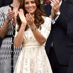 At Wimbledon on July 2nd, 2014 in a Zimmermann dress.