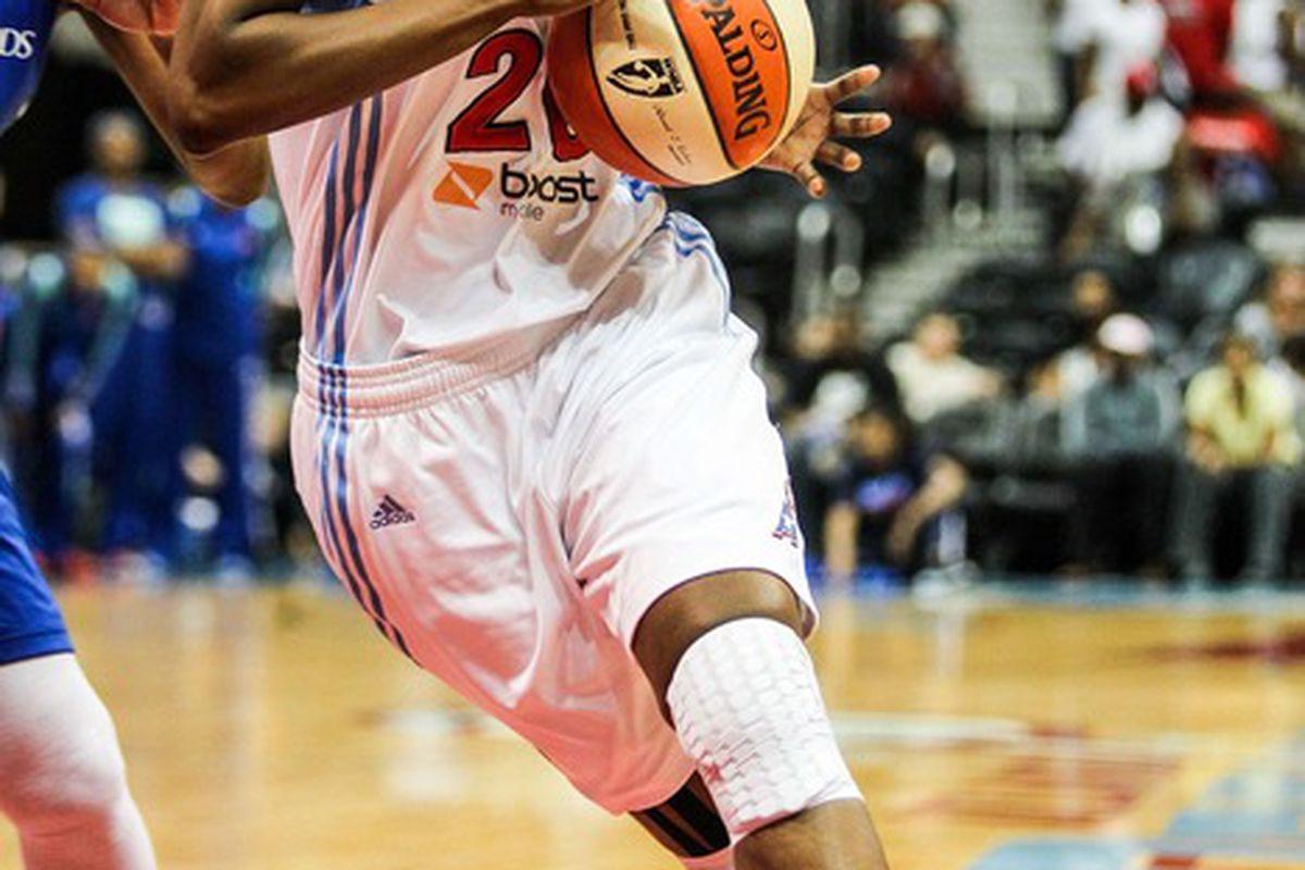 June 19, 2012; Atlanta, GA, USA; Atlanta Dream forward Sancho Lyttle drives to the basket in the first half of the game against the New York Liberty at Philips Arena. Mandatory Credit: Daniel Shirey-US PRESSWIRE