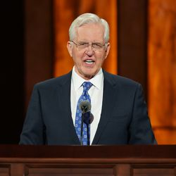 Elder D. Todd Christofferson, a member of the Quorum of the Twelve Apostles, speaks during the Saturday morning afternoon of the 190th Semiannual General Conference of The Church of Jesus Christ of Latter-day Saints on Oct. 3, 2020.