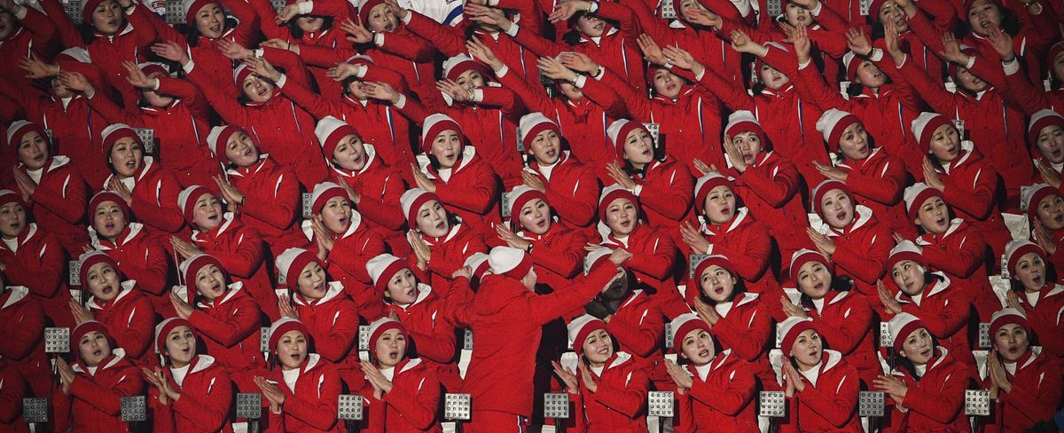 North Korean cheerleaders during the opening ceremony.