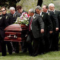 Olive Osmond's casket is carried by the Osmond brothers and their brother-in-law Brian Blosil at East Lawn Memorial Gardens in Provo.