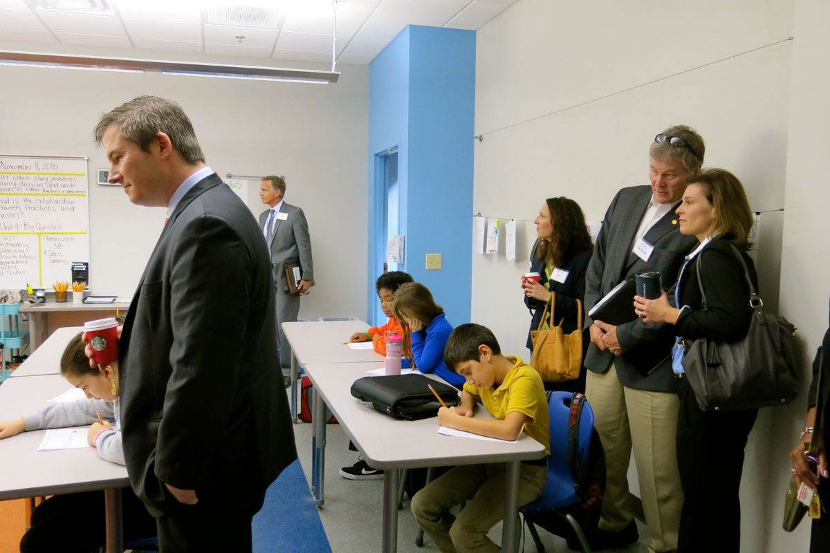 Sen. Jeff Yarbro observes a math class at Valor Voyager, one of the Valor Collegiate Academies on the same campus, with MNPS School Board member Mary Pierce and Councilman Russ Pulley looking on.