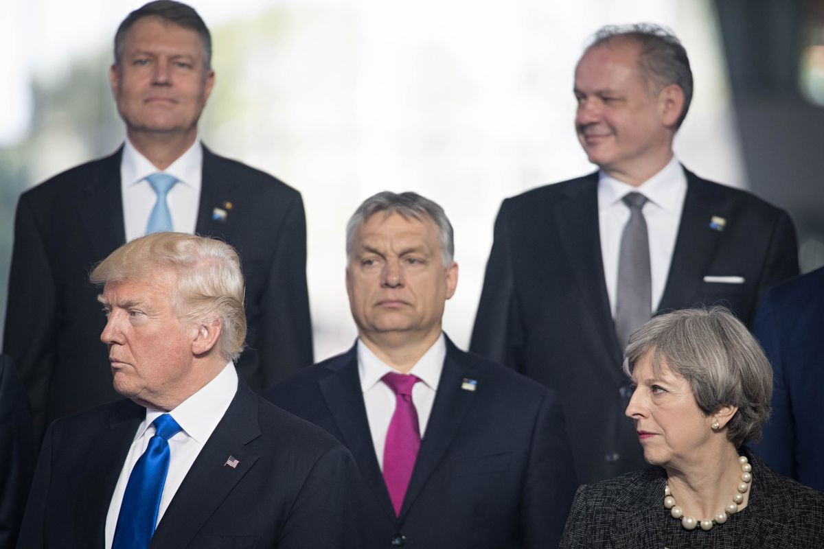 President Donald Trump meeting with NATO leaders in May 2017.