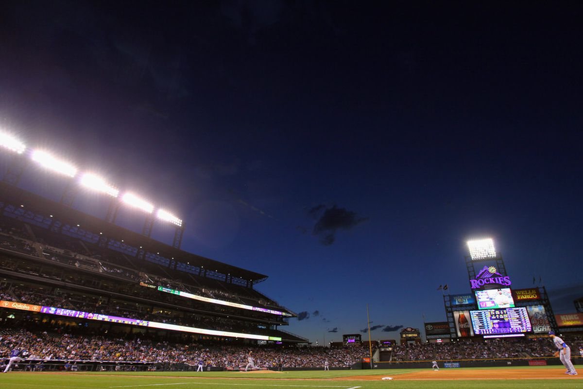 DENVER, CO - MAY 01:  Dusk settles over the stadium as the Los Angeles Dodgers defeated the Colorado Rockies 7-6 at Coors Field on May 1, 2012 in Denver, Colorado.  (Photo by Doug Pensinger/Getty Images)