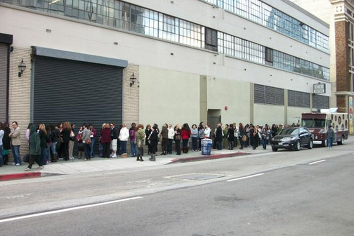 """This is what the line looked like when we went to the <a href=""""http://la.racked.com/archives/2009/12/07/the_line_started_at_4am_for_the_monique_lhuillier_sample_sale.php"""">December Monique Lhuillier sale</a>"""