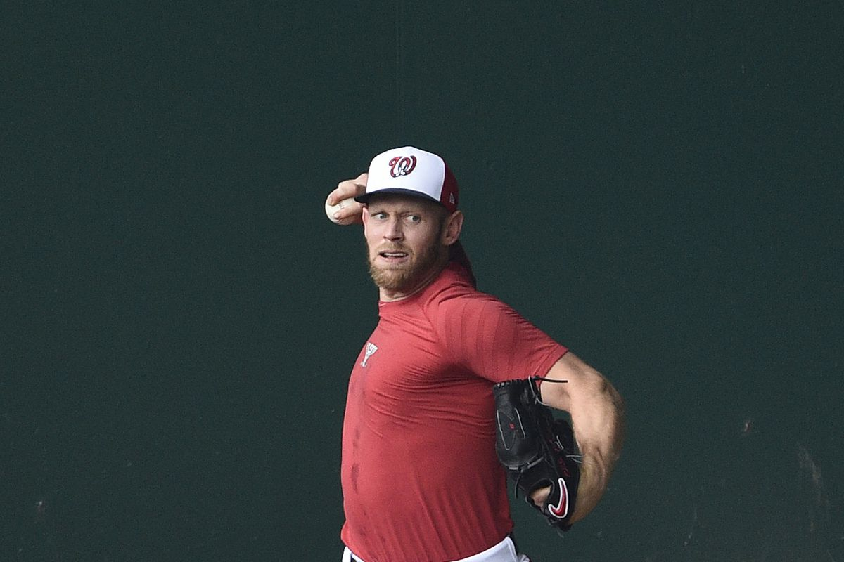 Stephen Strasburg of the Washington Nationals throws in the bullpen during the Washington Nationals Summer Workouts at Nationals Park on July 07, 2020 in Washington, DC.