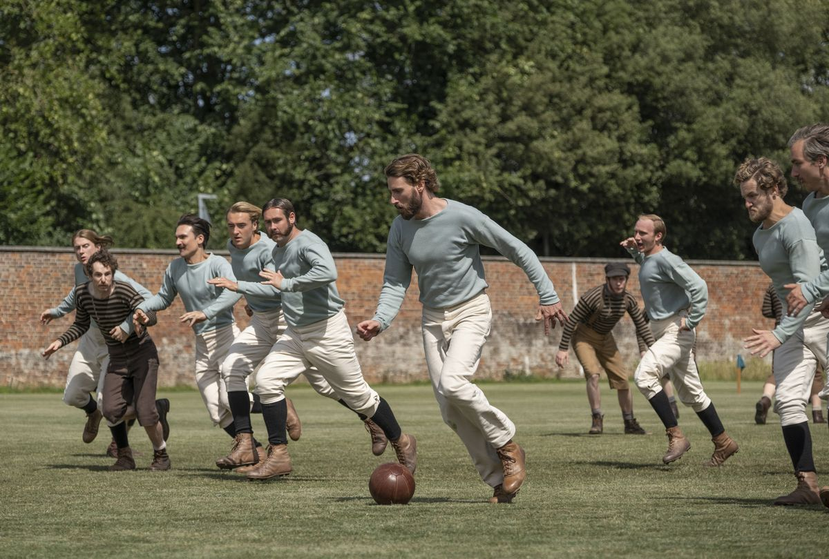 "Edward Holcroft (foreground) in a scene from ""The British Game,"" a six-part drama charting the origins of soccer."