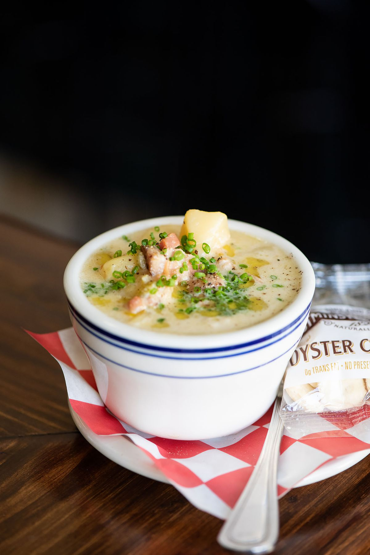 Chowder in a small cup.