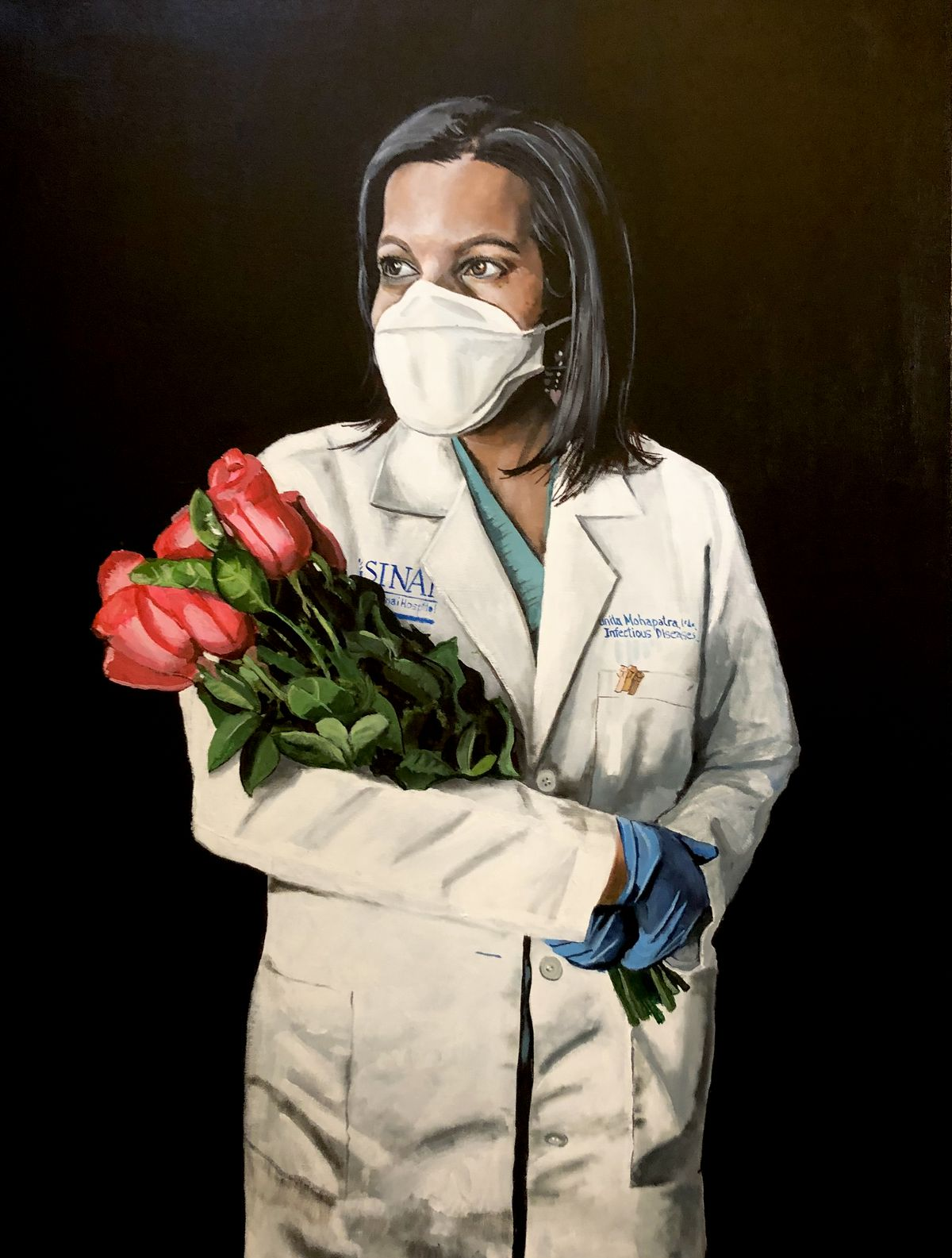 """Mount Sinai infectious disease specialist Dr. Sunita Mohapatra, painted by artist Phil Gayter. He researched the symbolism of roses for this portrait' deep pink represents """"thankfulness,"""" Gayter said."""
