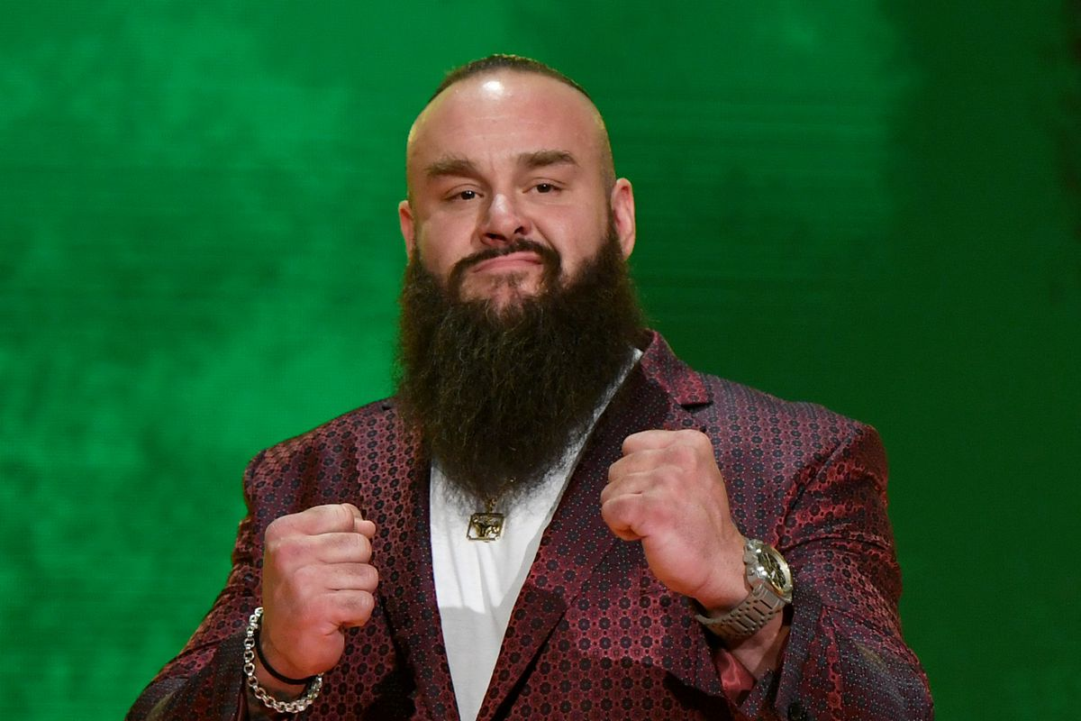 WWE wrestler Braun Strowman poses at a WWE news conference at T-Mobile Arena on October 11, 2019 in Las Vegas, Nevada. Strowman will face heavyweight boxer Tyson Fury and WWE champion Brock Lesnar will take on former UFC heavyweight champion Cain Velasquez at the WWE's Crown Jewel event at Fahd International Stadium in Riyadh, Saudi Arabia on October 31.