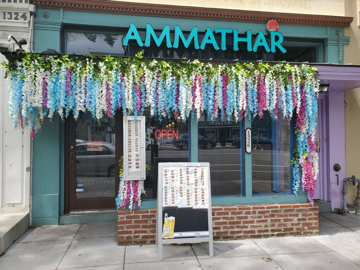 The colorful new facade at Ammathar on 14th Street NW
