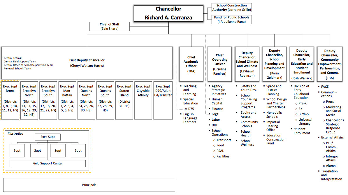 The education department's new organizational chart.