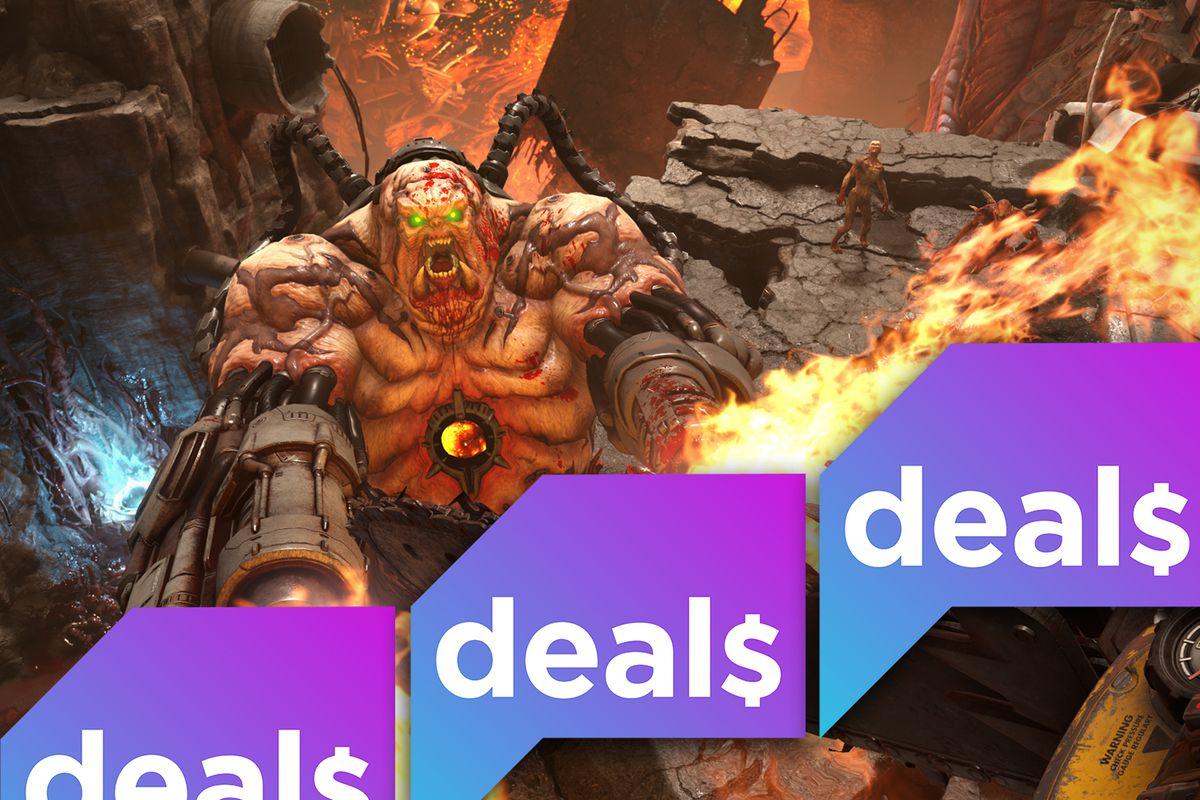 Polygon deals logo overlaid over a screenshot of a demon from Doom Eternal