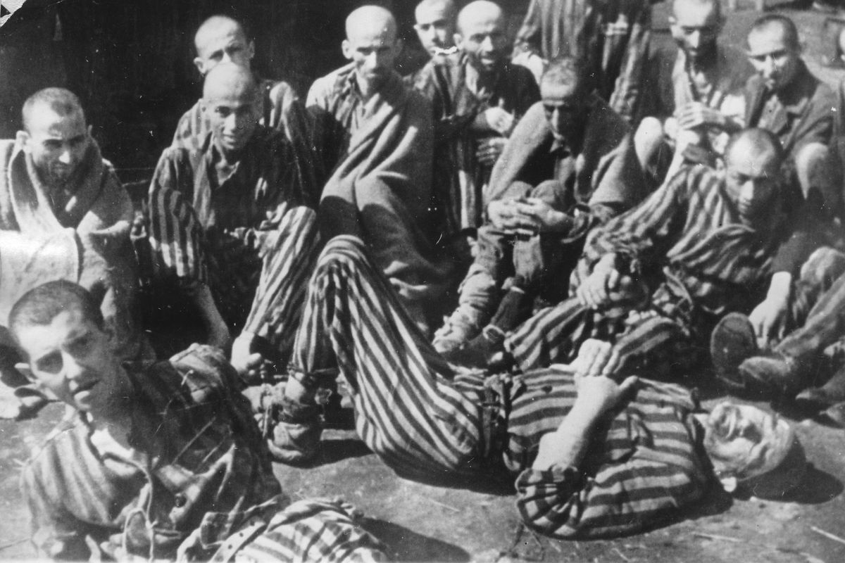 Theresienstadt survivors just after liberation in May 1945.