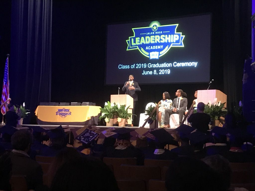 Retired NBA player Jalen Rose speaks at the 2019 graduation of Jalen Rose Leadership Academy, the school he started in Detroit.