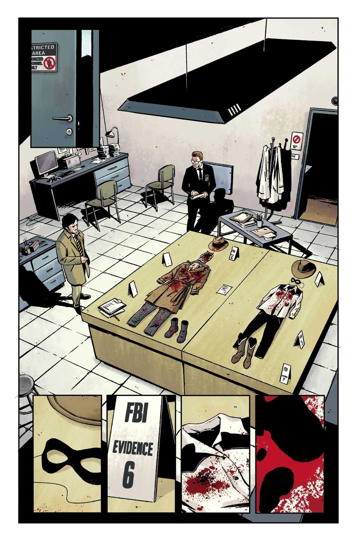 Rorschach's bloody costume is laid out on an evidence table