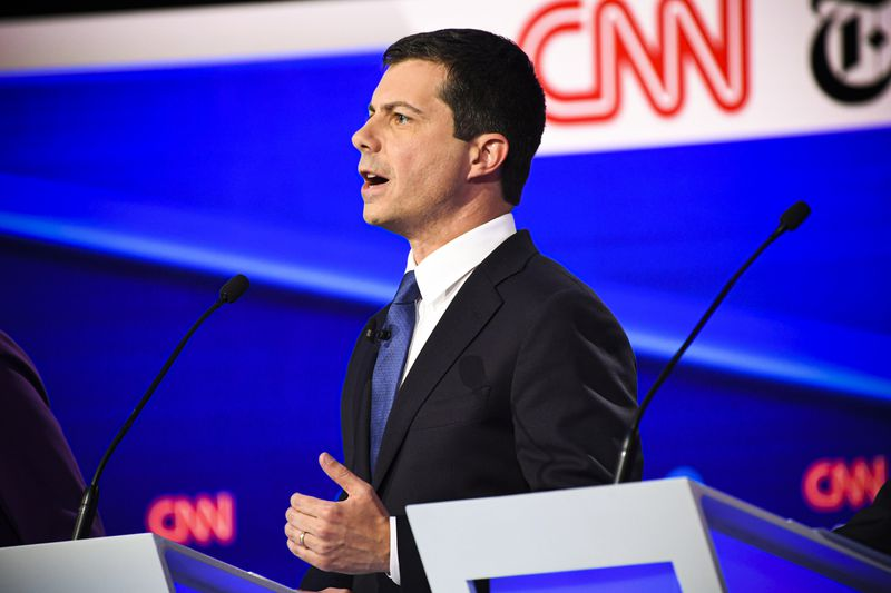 Democratic presidential hopeful Mayor of South Bend, Indiana Pete Buttigieg speaks during the fourth Democratic primary debate of the 2020 presidential campaign.