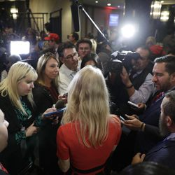 Kellyanne Conway, campaign manager for President-elect Donald Trump, speaks with the media during an election night rally Wednesday, Nov. 9, 2016, in New York.