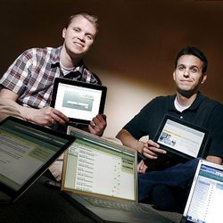 Brian Whitmer, left, and Devlin Daley, two BYU graduates that developed new software for education, Canvas, that is more user friendly than the dominant software being used now.