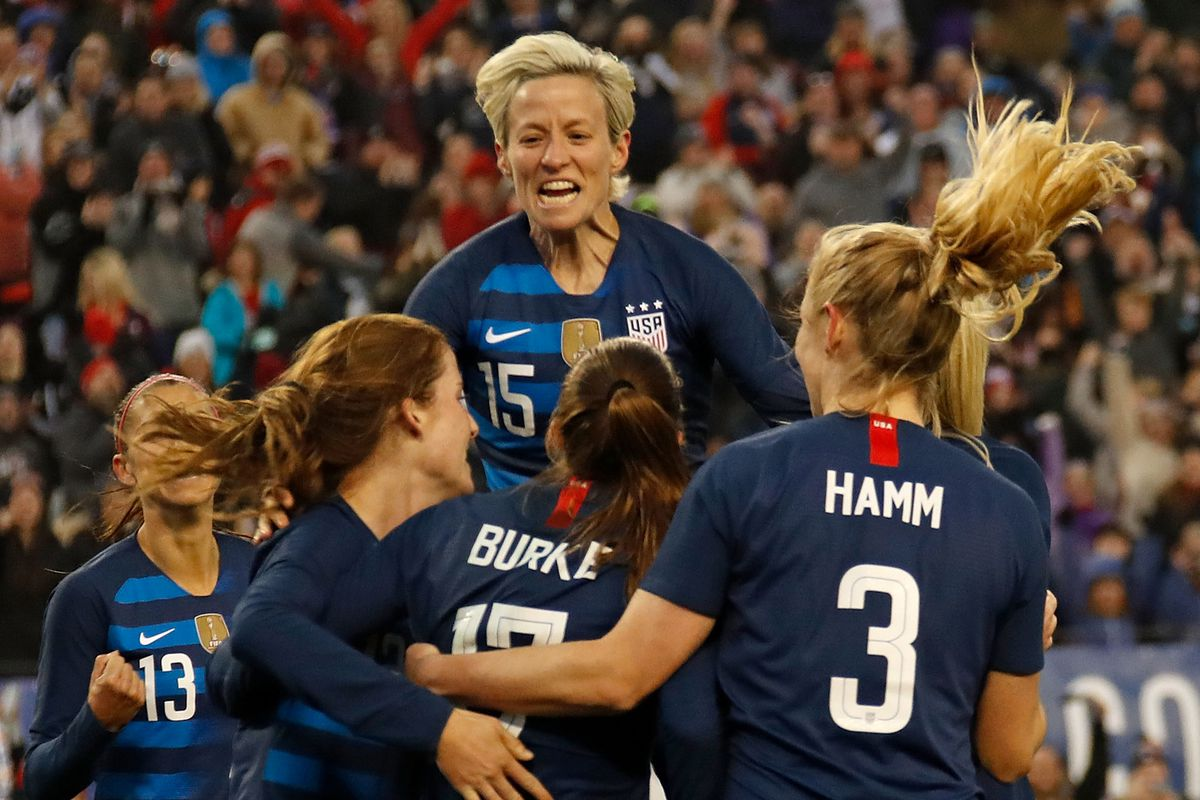 8f957e118 The U.S. Women s National Team wore the names of iconic and influential  women on the back of their jerseys for the 2019 SheBelieves Cup match  between the ...