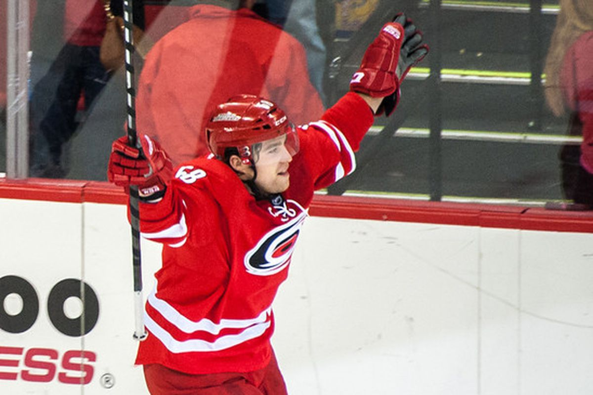 Chris Terry celebrates his game-winning shootout attempt Friday at PNC Arena.