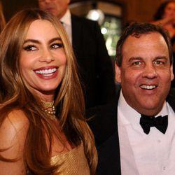 Sofia Vergara and Chris Christie. Images via Getty