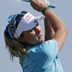 Lexi Thompson watches her tee shot from the second hole during final round play in the Navistar LPGA Classic golf tournament, Sunday, Sept. 23, 2012, at the Robert Trent Jones Golf Trail in Prattville, Ala.