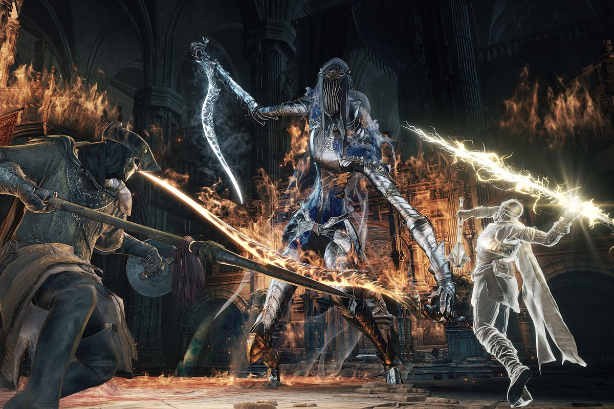 Two players battle the Dancer of the Boreal Valley in Dark Souls 3