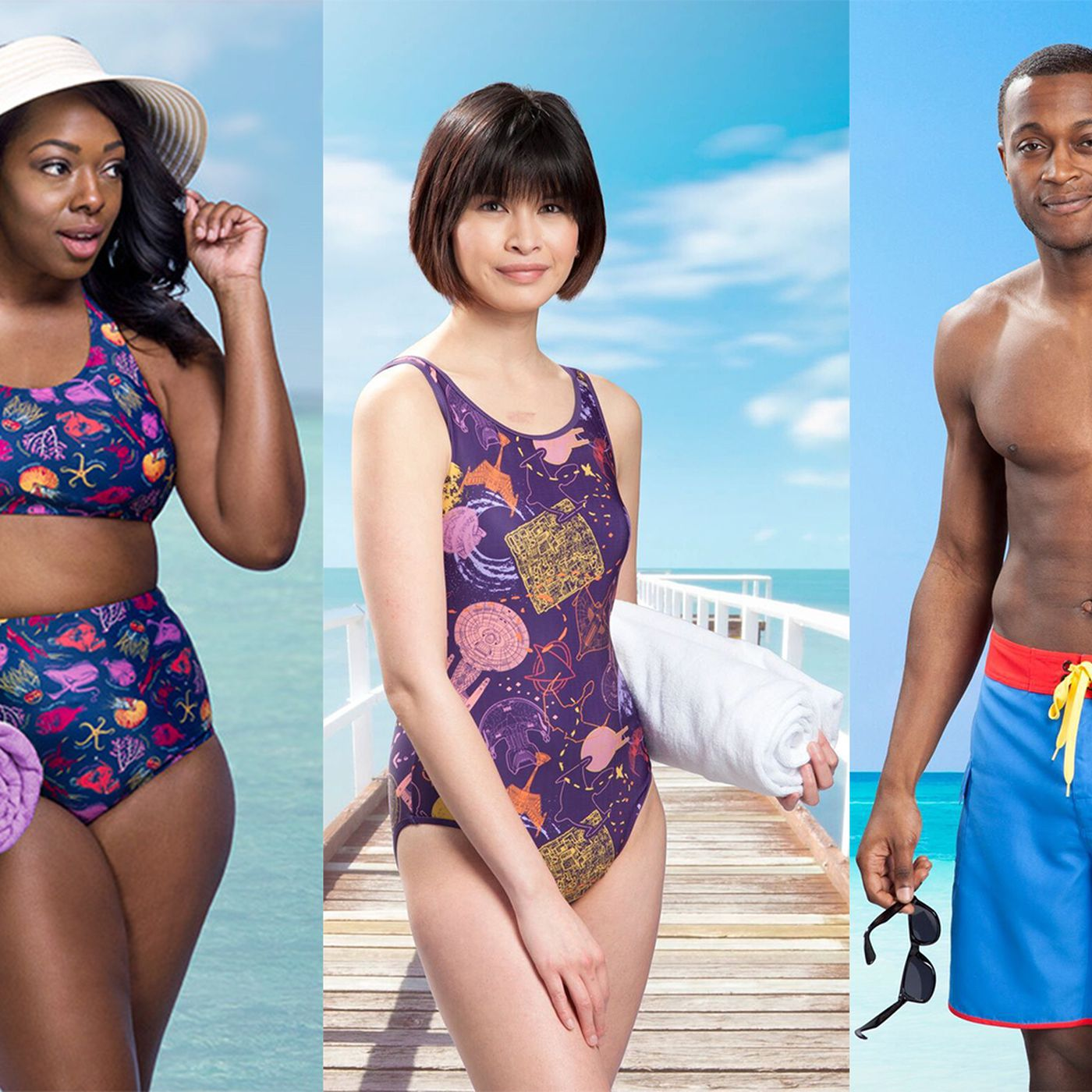 a9cd2a6ba58f0 ThinkGeek's new swimwear collection features Mario, Captain America and  corgis
