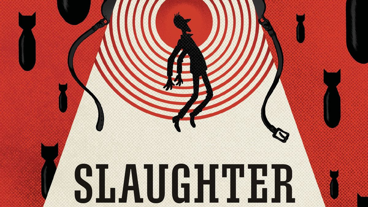 Billy Pilgrim floats upward as if in a tractor beam, into a military helmet. Bombs rain around him, on the cover of Slaughterhouse-Five, Boom Studios (2020).