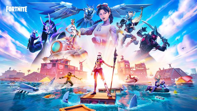 Key art from Fortnite Chapter 2 season 3 which shows off some of the battle pass skins