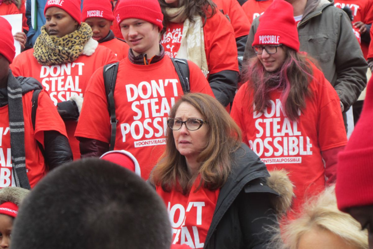 Eva Moskowitz at a parent rally in Albany in 2015
