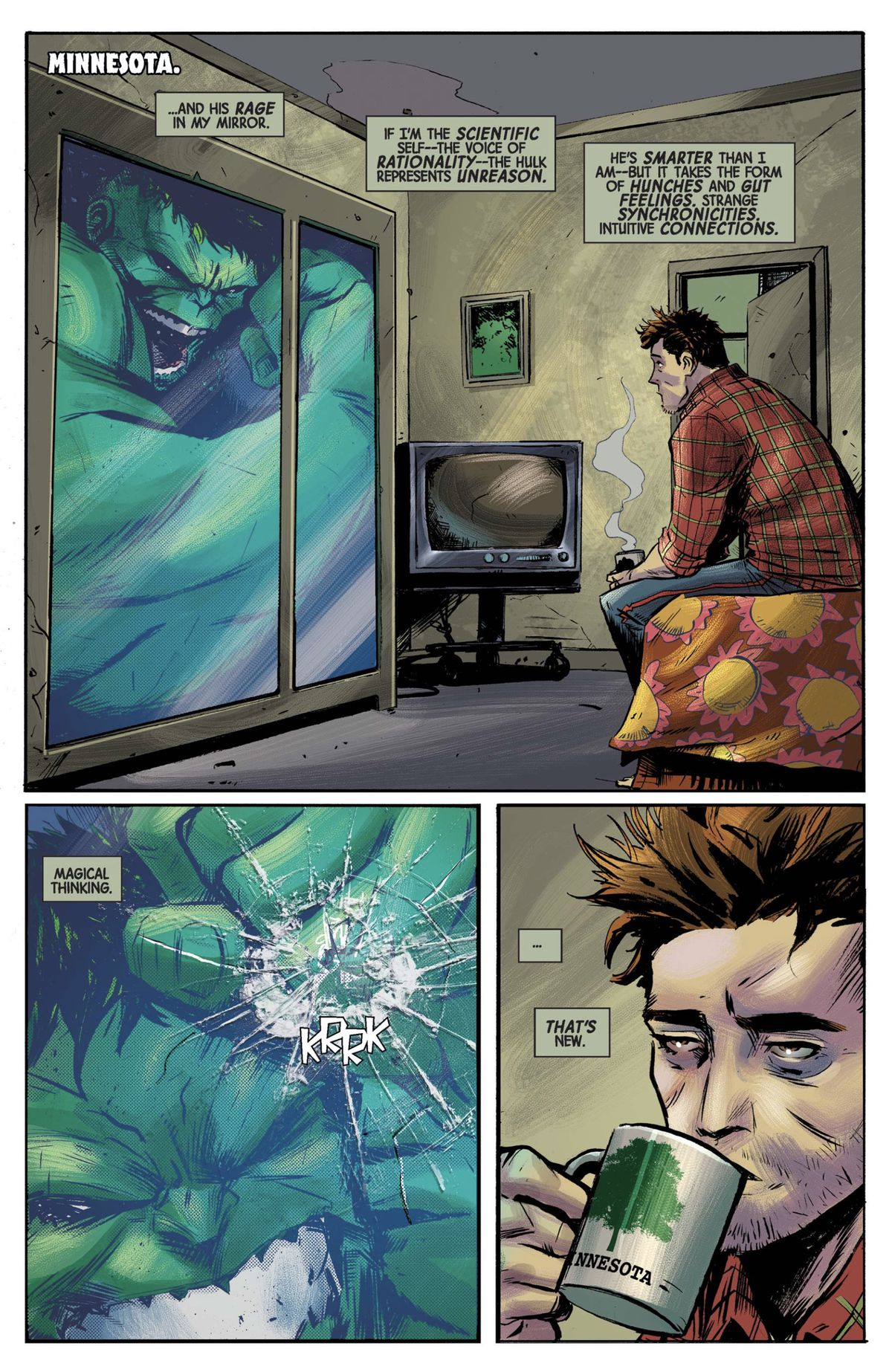 hulk is trapped in a motel window trying to break the glass