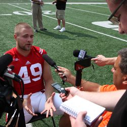 Wisconsin tight end Sam Arneson fields questions about UW's depth at his position.