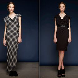 Left: Grey Plaid Cascade Sleeve Dress ($300); Melange Jersey Cascade Sleeve Dress With Slip ($325)